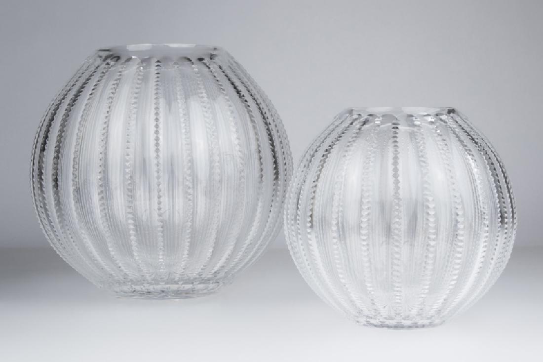"Two William Yeoward crystal ""Inez"" vases"