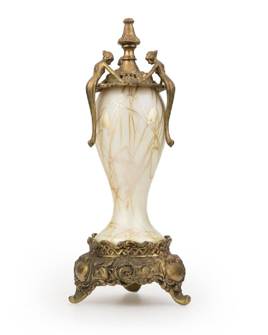 An Art Nouveau bronze-mounted art glass censer
