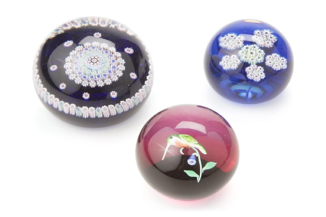 A selection of 3 blown glass paperweights