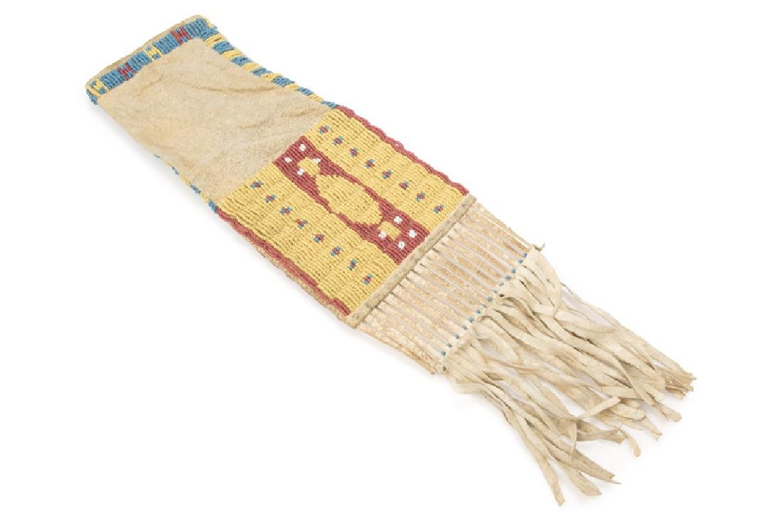 A Plains Indian beaded tobacco bag