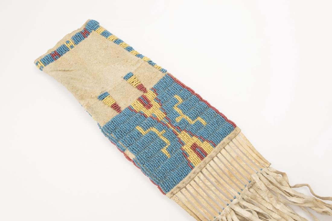 A Plains Indian beaded tobacco bag - 2