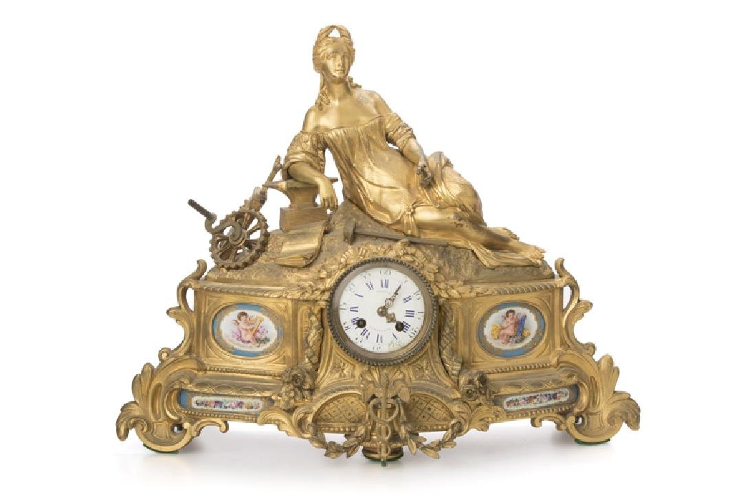 A gilt-bronze porcelain-mounted figural mantel clock