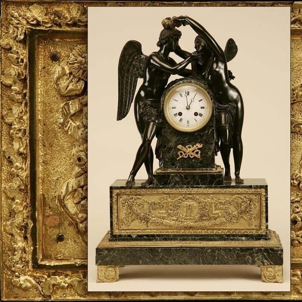 1119: EMPIRE STYLE GILT METAL GREEN MARBLE CLOCK