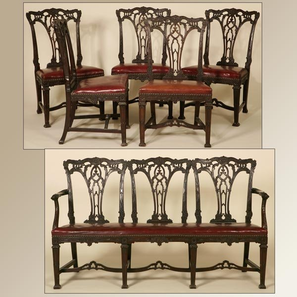 1145: A GEORGE II STYLE MAHOGANY PARLOUR SUITE