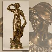 EUGENE MARIOTON GILT BRONZE FIGURE OF A WOMAN