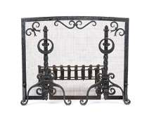 A hand-wrought iron fireplace set