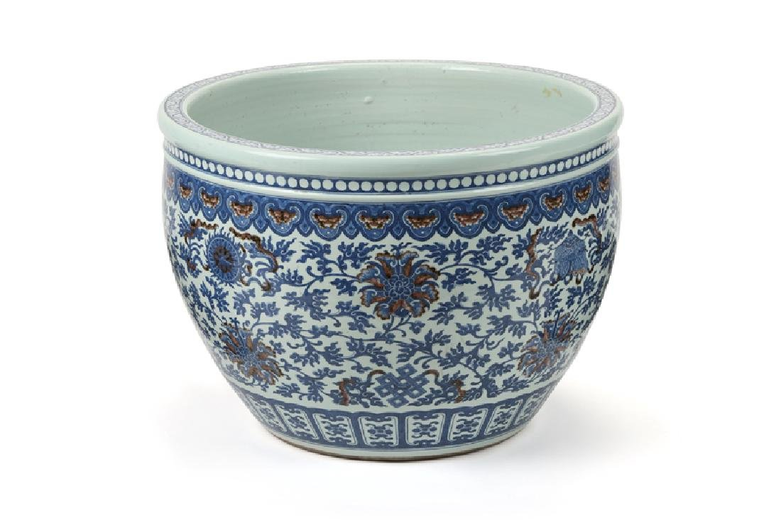 A large Chinese porcelain fish bowl