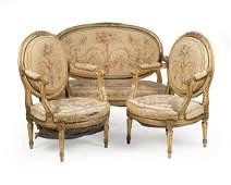 A Louis XVIstyle giltwood parlor suite