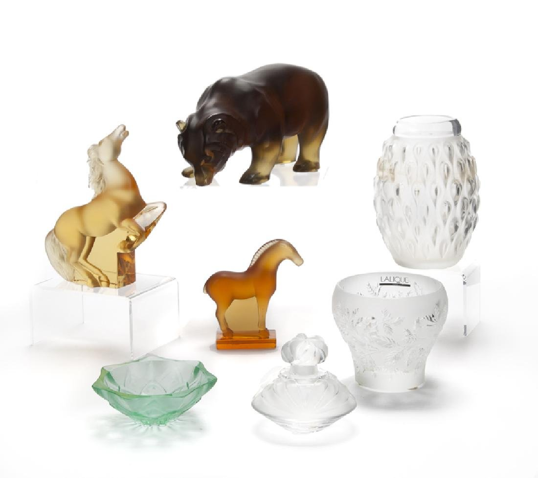 A group of Lalique art glass objects