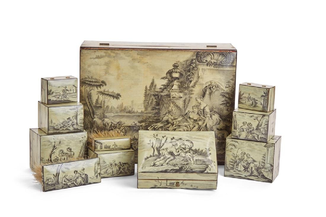 A set of French hand-painted en grisaille Spa boxes