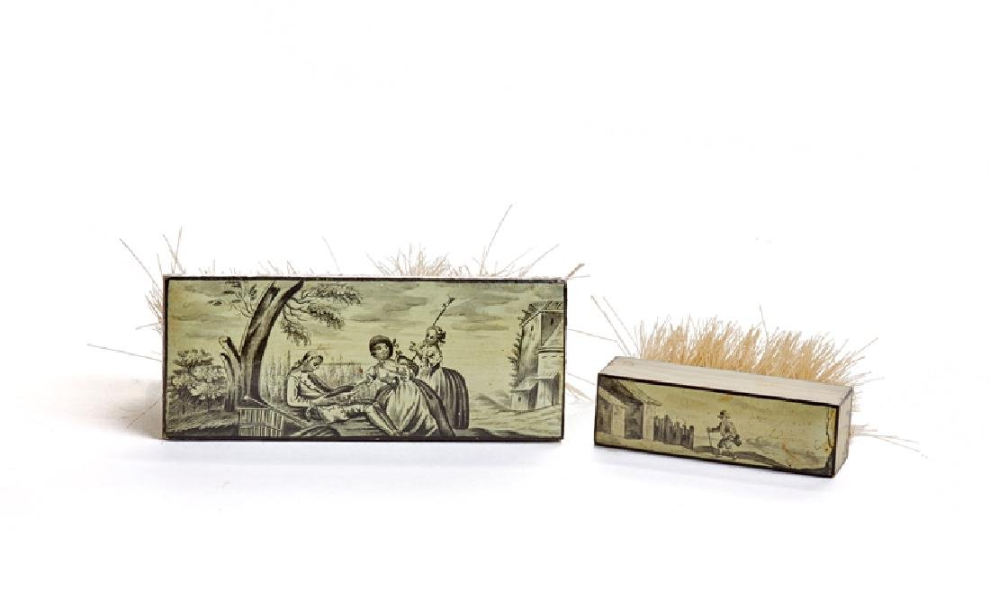 A set of French hand-painted en grisaille Spa boxes - 3