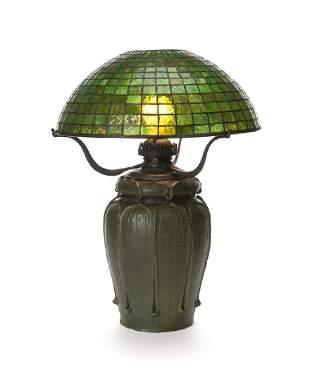 A Grueby art pottery lamp
