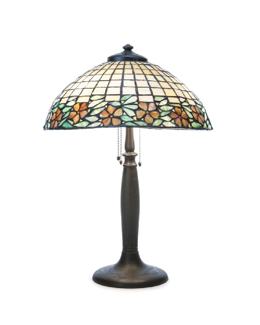 A leaded glass table lamp
