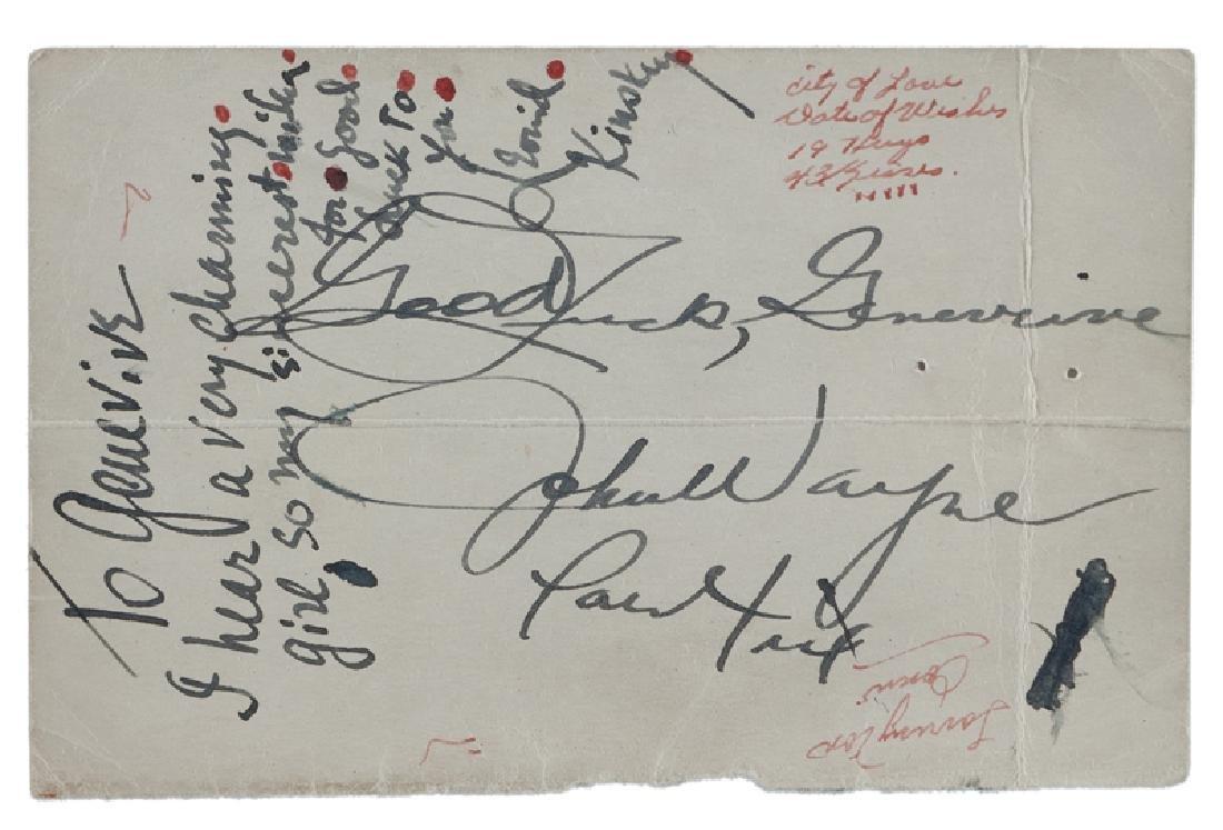 John Wayne and Leonid Kinskey autographed note