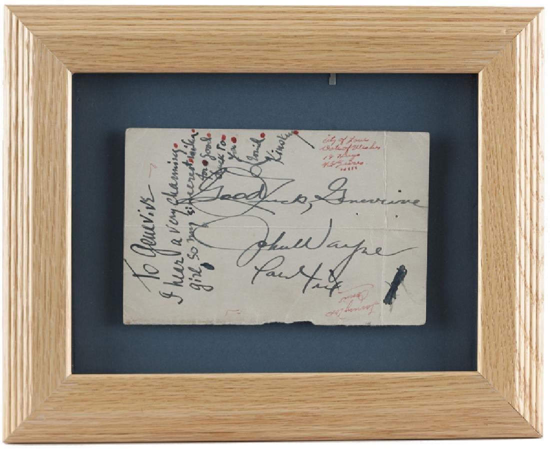 John Wayne and Leonid Kinskey autographed note - 3
