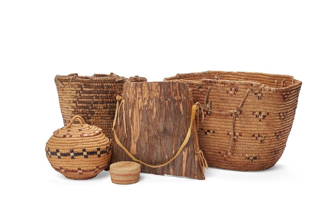 Five Pacific Northwest Coast Native American baskets