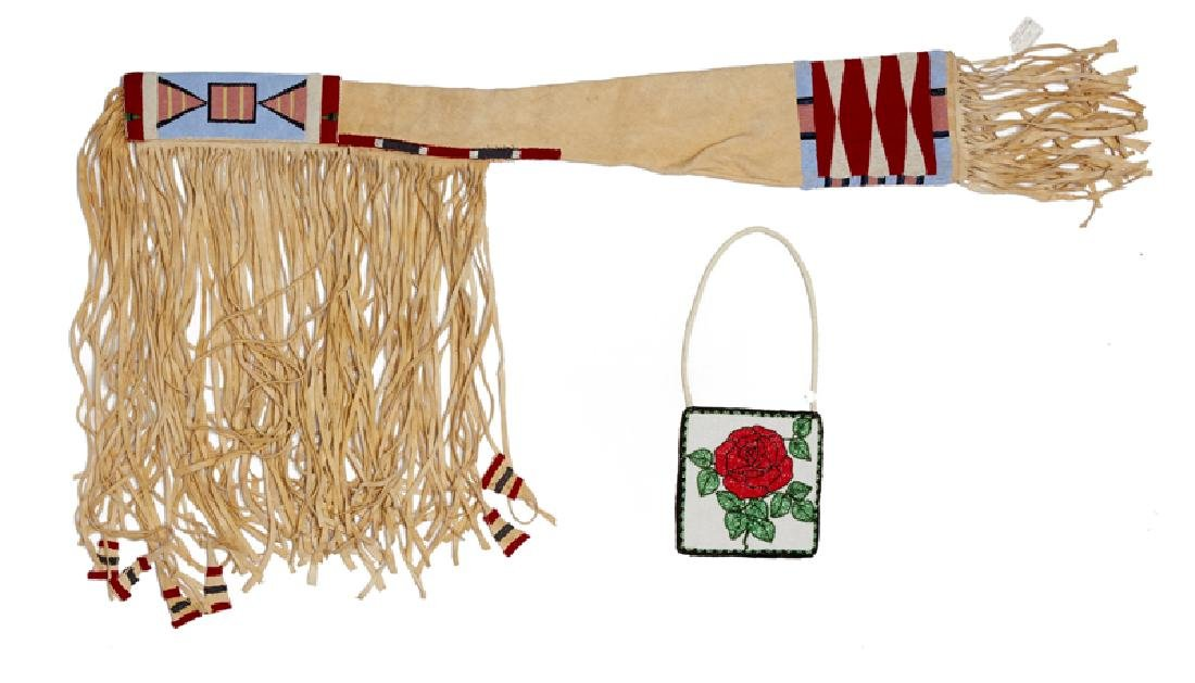 Two Native American beaded objects