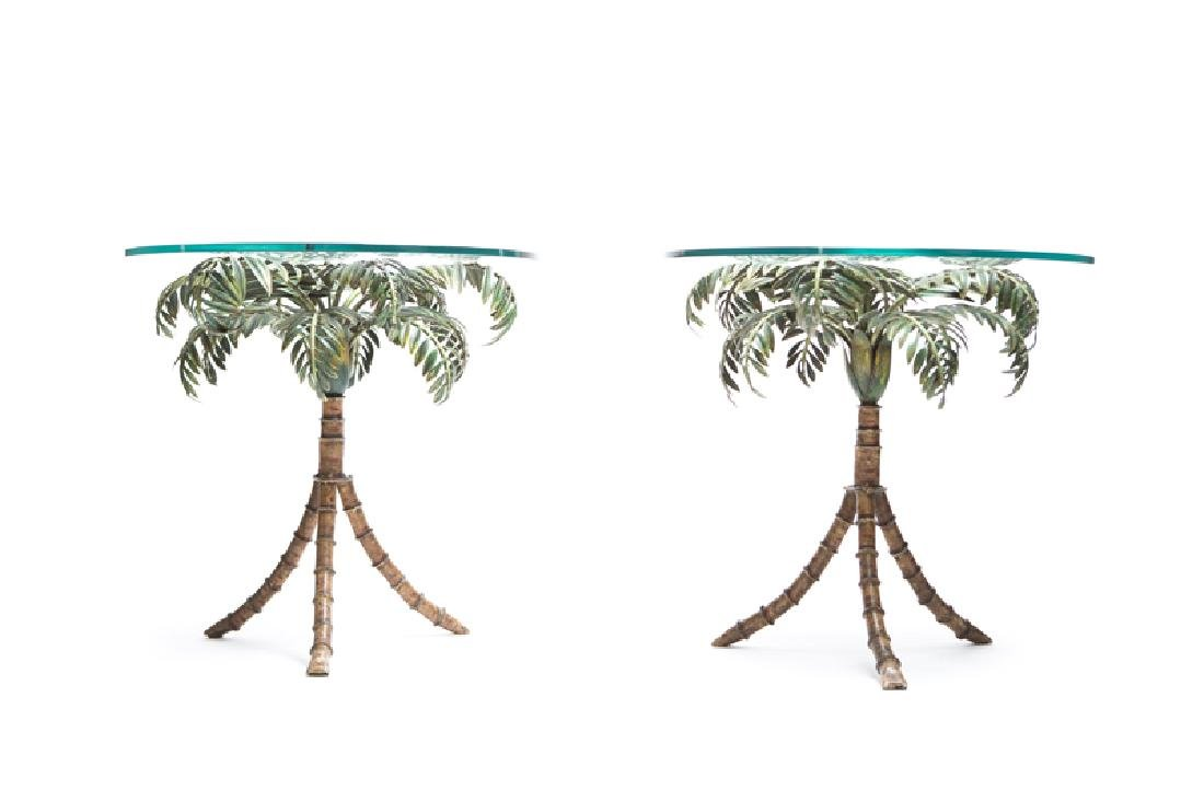 A pair of glass and metal side tables - 2