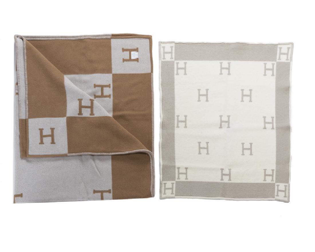 Two Hermes wool monogram blankets