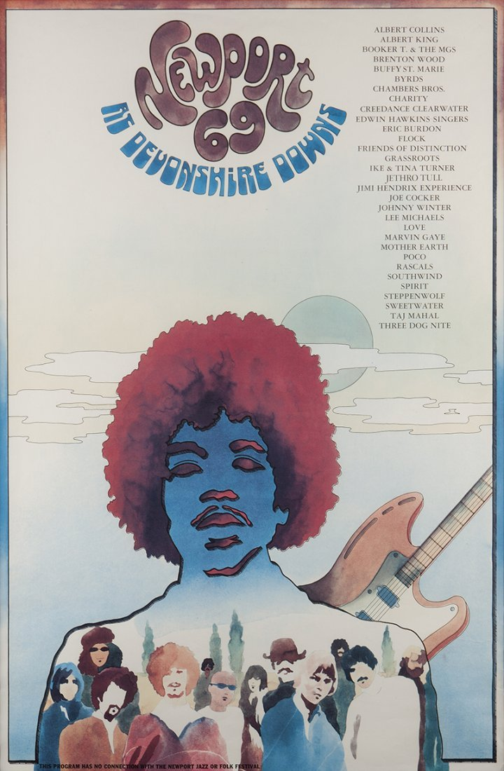 Rock festival poster featuring Jimi Hendrix