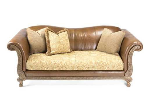 A Drexel Heritage Leather And Fabric Sofa See Sold Price