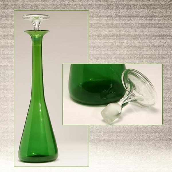 1001: BLANCO MID-CENTURY GREEN ART GLASS TALL DECANTER