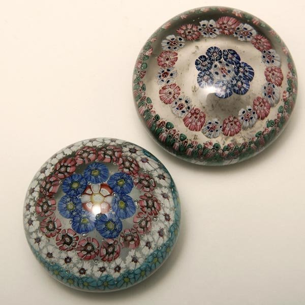 1011: TWO CONTINENTAL MILLEFIORI GLASS PAPERWEIGHTS