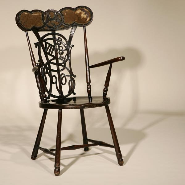 1021: EDWARDIAN STAINED FRUITWOOD COMMEMORATIVE CHAIR