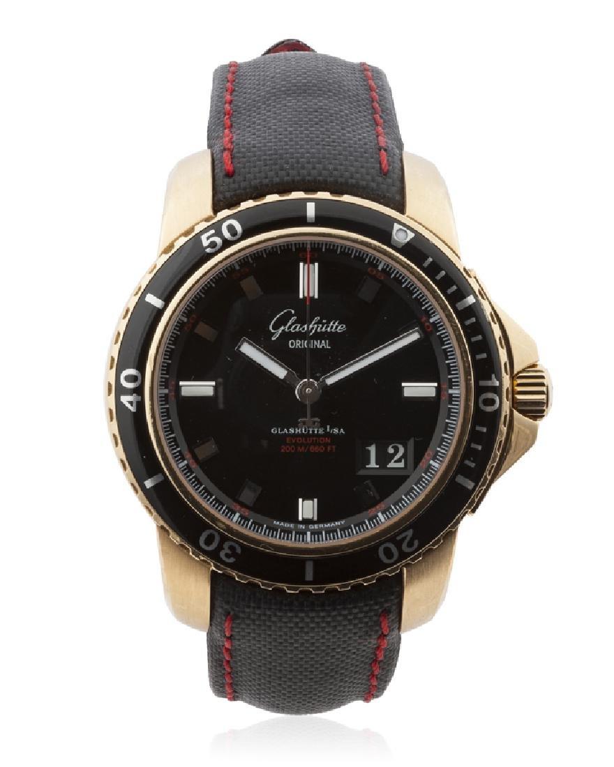 A Glashutte Sport Evolution Panorama gold wristwatch