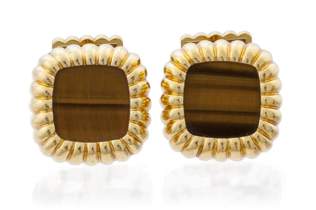 A pair of tiger's eye cufflinks, Piaget
