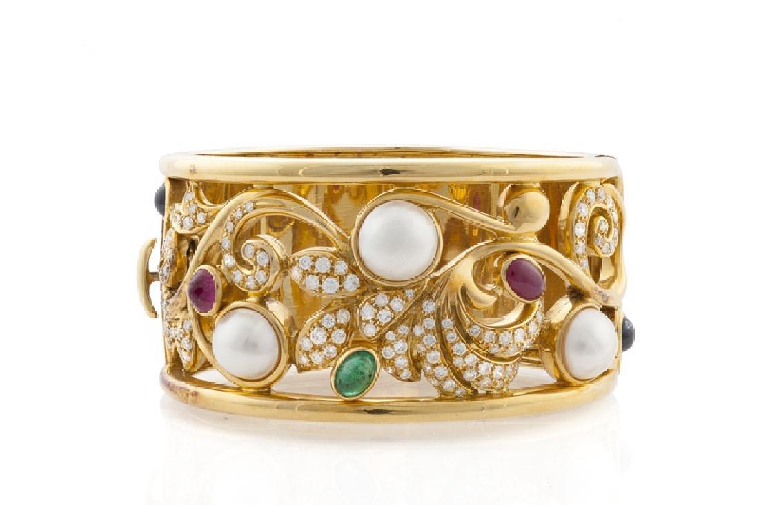 A diamond, mabe pearl and gemstone hinged cuff bracelet