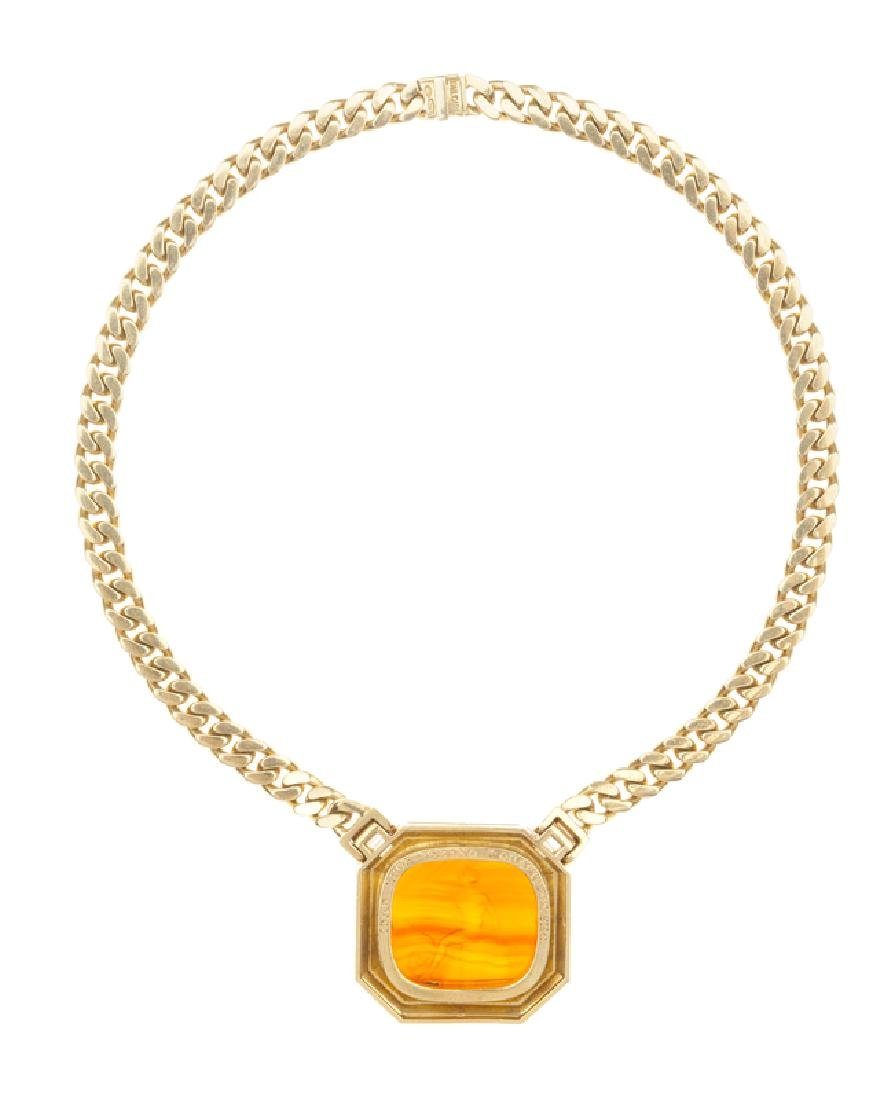 A carnelian intaglio and diamond necklace, Bulgari