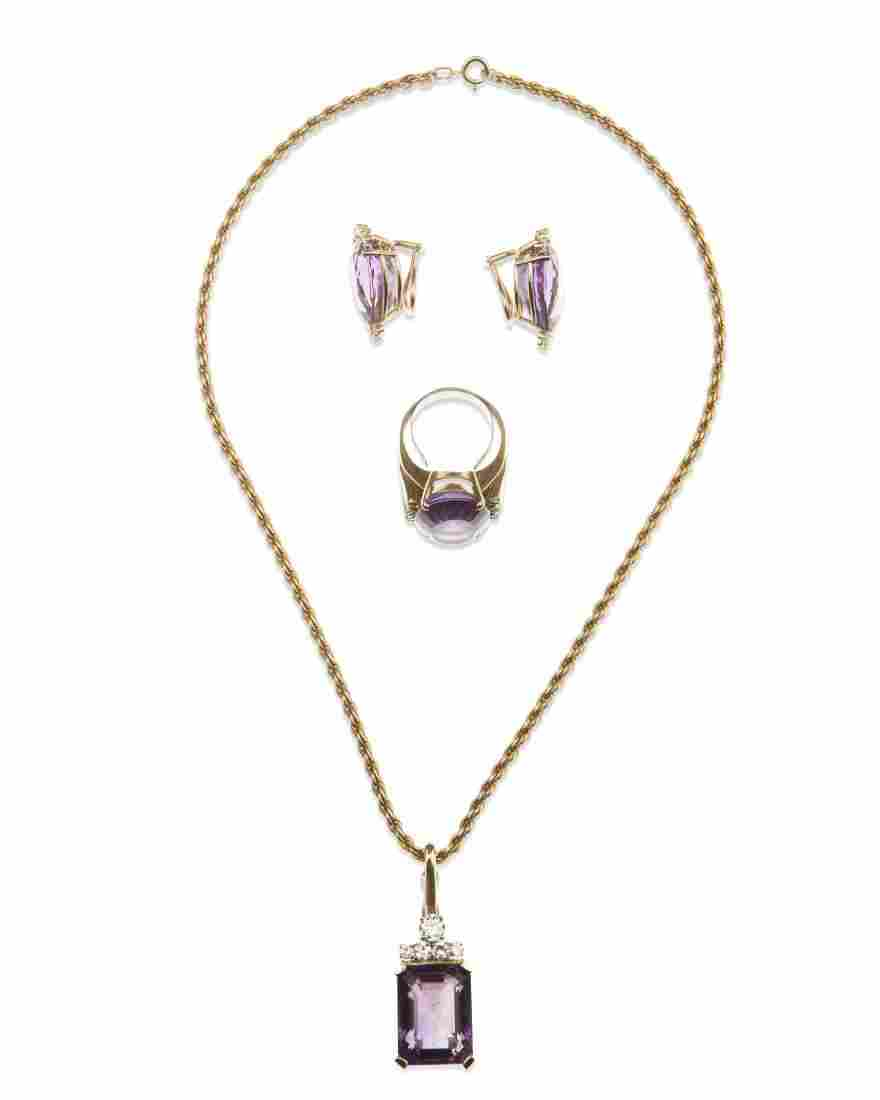 A group of amethyst and diamond jewelry