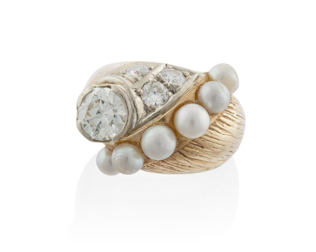 A Retro cultured pearl and diamond ring