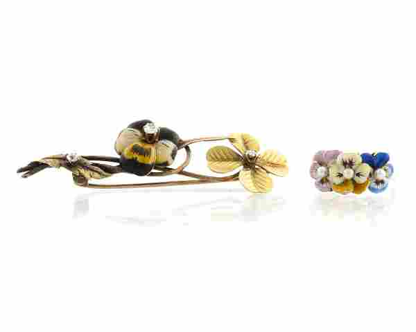 Two Antique enamel and diamond floral jewelry items