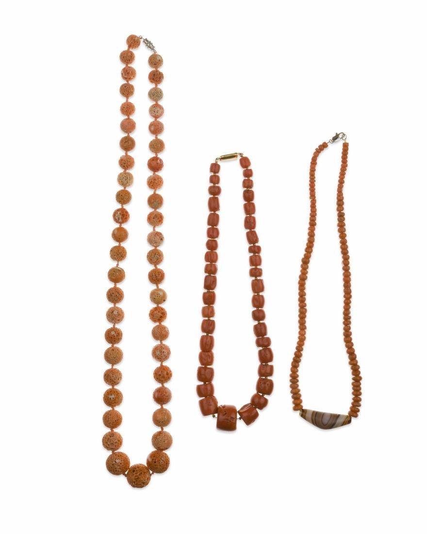 Three coral bead necklaces