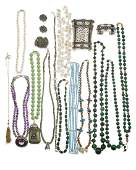 A group of bead silver and metal jewelry