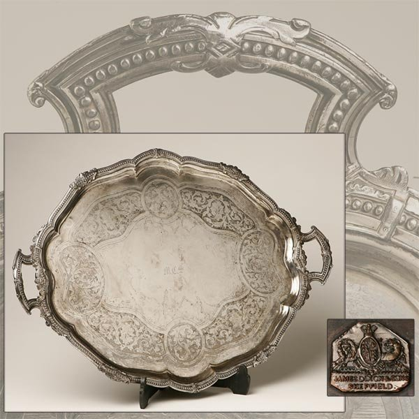 2017: A JAMES DIXON & SONS SHEFFIELD-PLATE HANDLED TRAY
