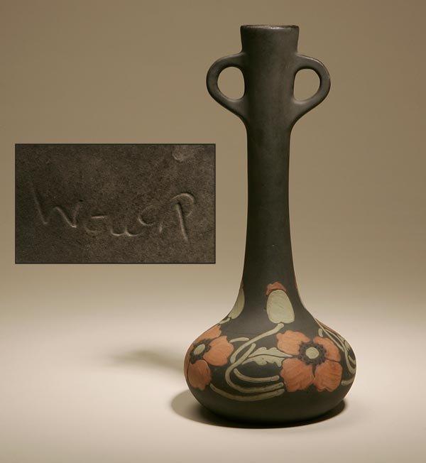 2022: A WELLER ART POTTERY MATTE-GLAZED BUD VASE POPPY