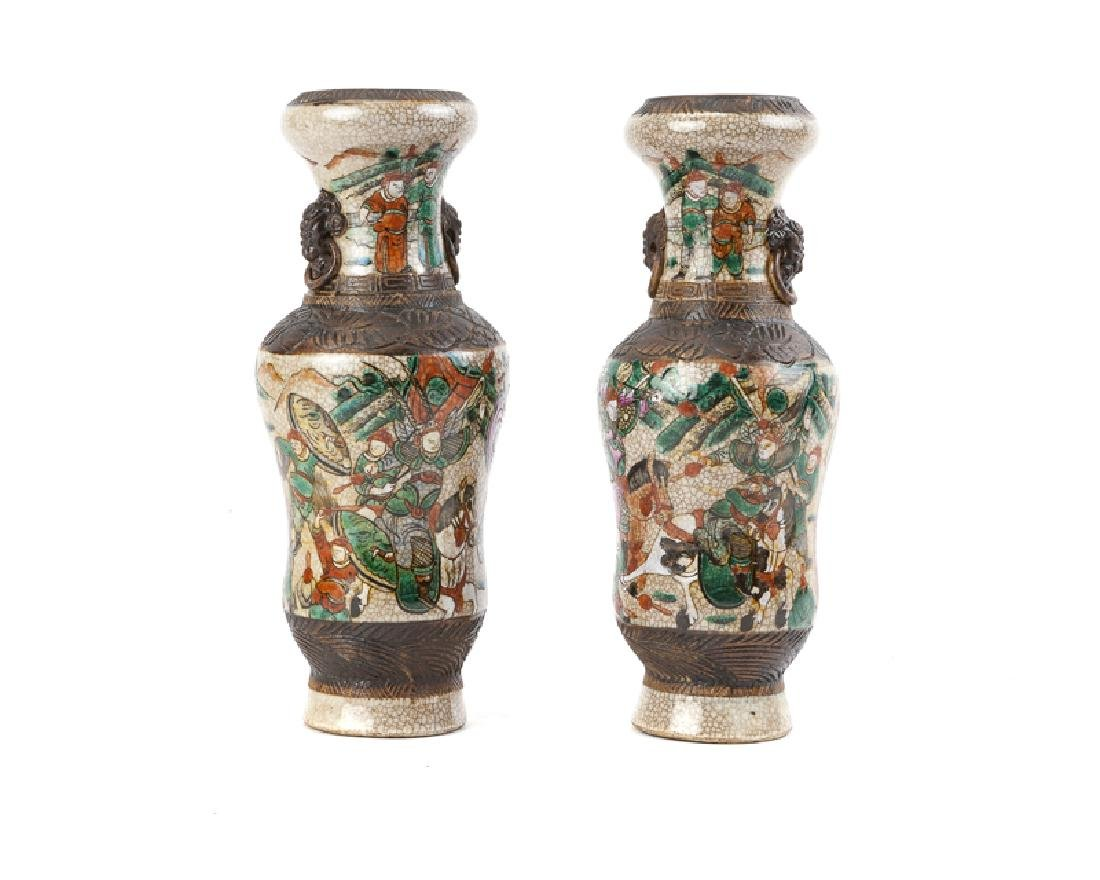 A pair of Nanking crackle glaze and incised vases