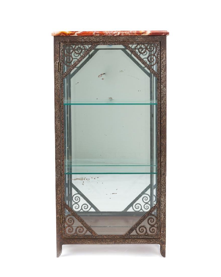 A French Art Deco wrought iron & glazed vitrine