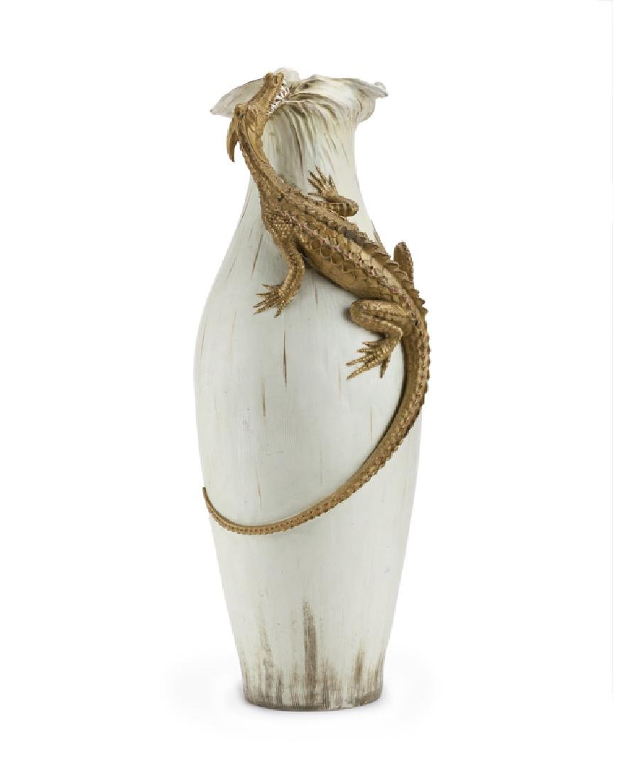 A monumental Stellmacher & Co. Teplitz pottery vase