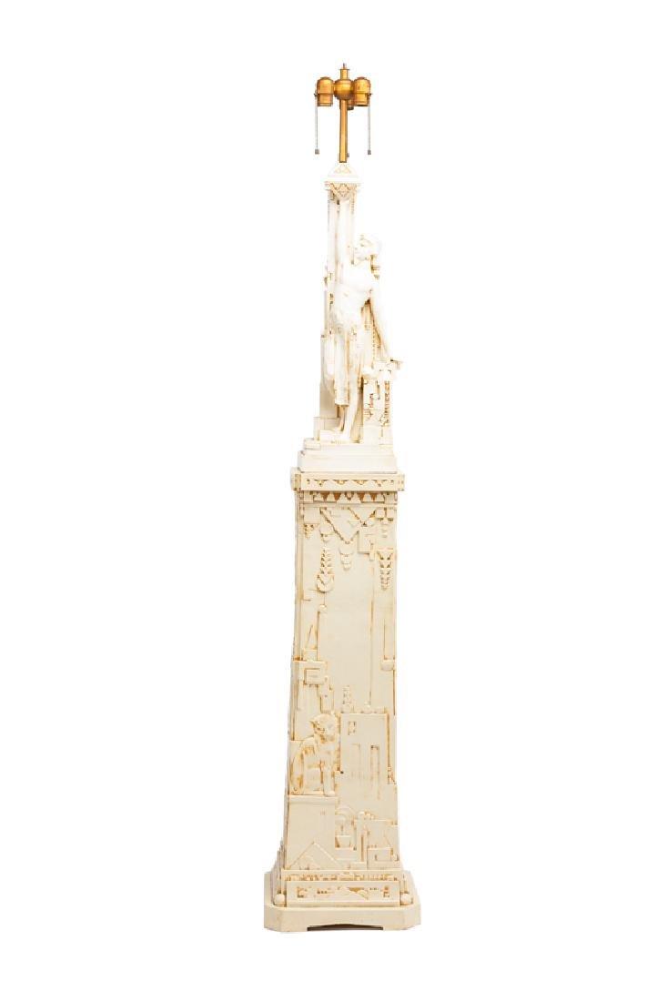 An Art Deco lamp and pedestal, Northwestern Terra Cotta