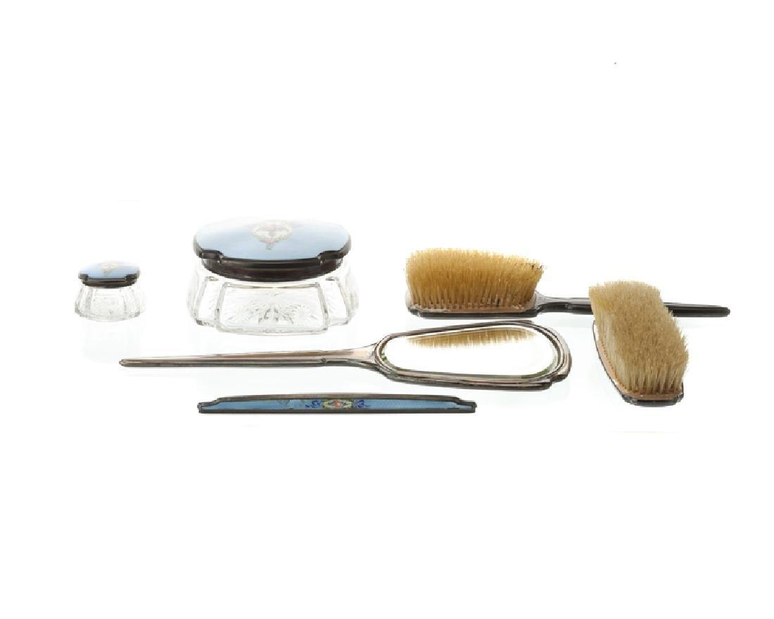 An American enameled sterling silver dresser set