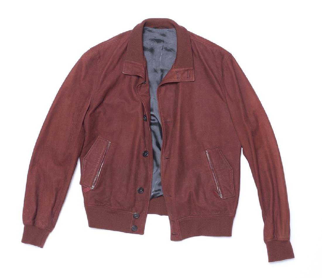 A Hermes men's red leather bomber jacket