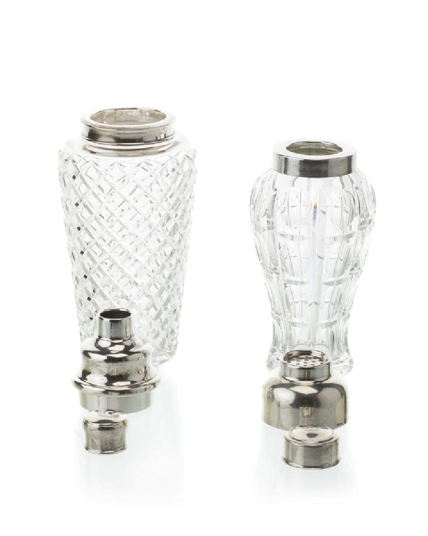 Two cut glass and silver cocktail shakers - 2