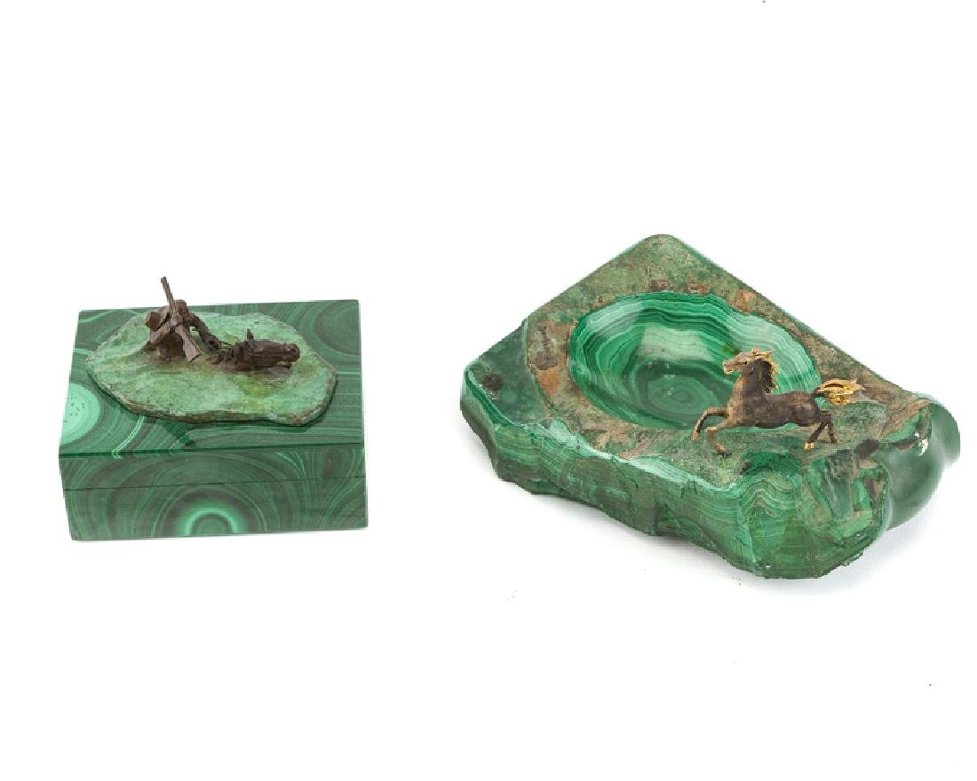 Two malachite sculptural objects, bronze and 14K yellow