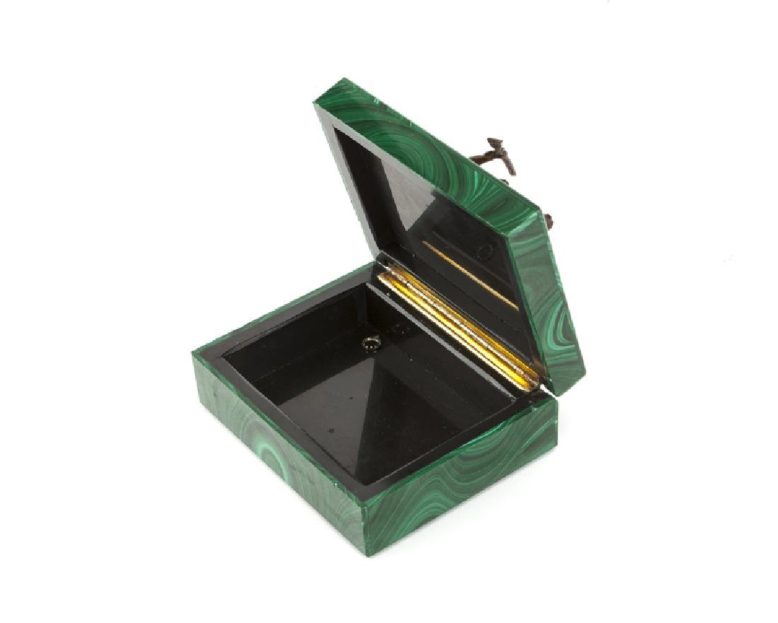 Two malachite sculptural objects, bronze and 14K yellow - 4
