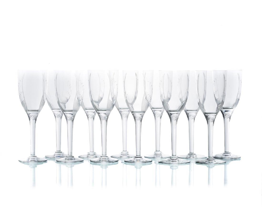 Twelve Lalique ''Ange'' champagne flutes