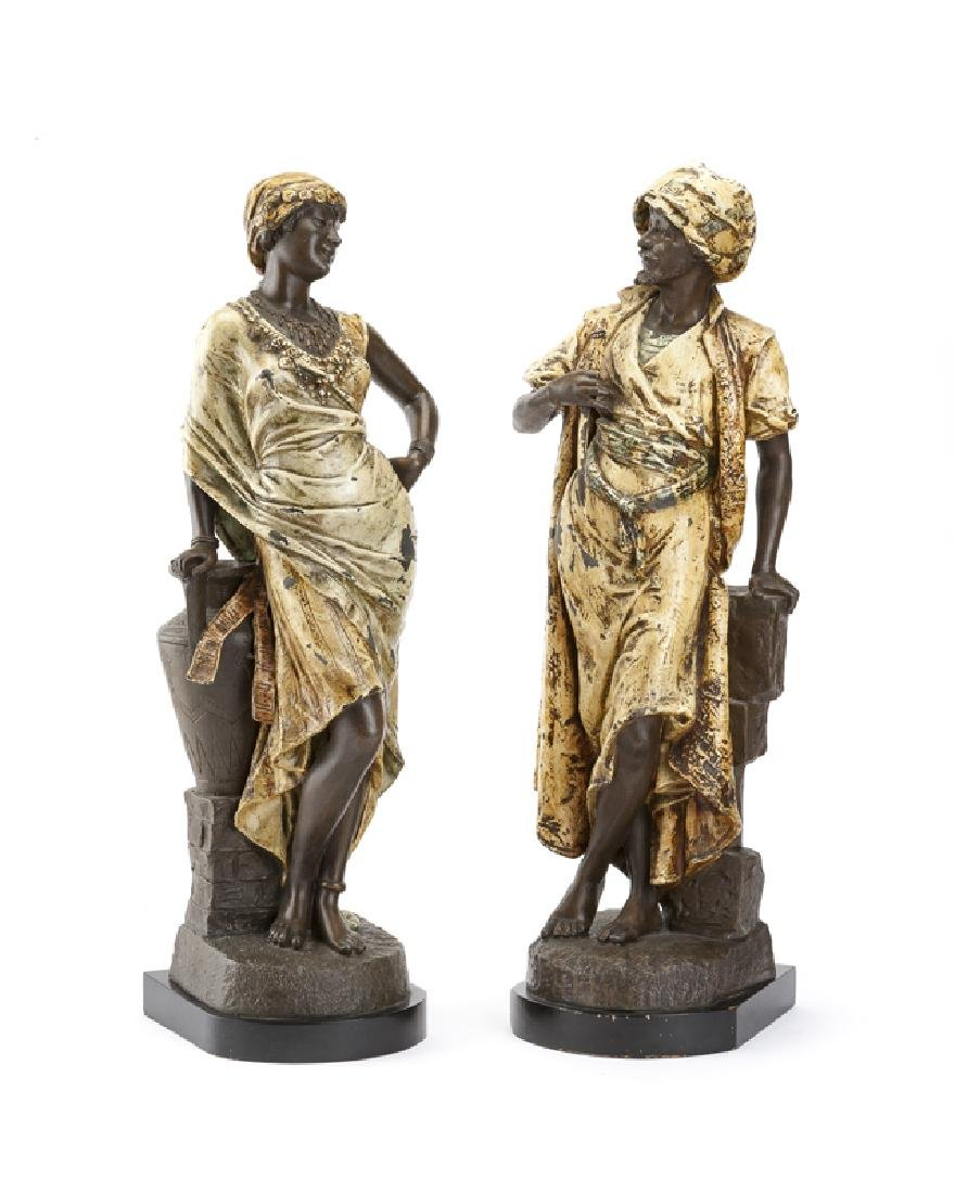 A pair of cold-painted spelter Arabian figures